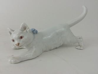 Katze, schleichend, Meissen Jugendstil Figur Jarl