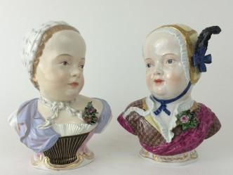 Zwei De Bourbon Kinder Büsten Meissen Porzellan