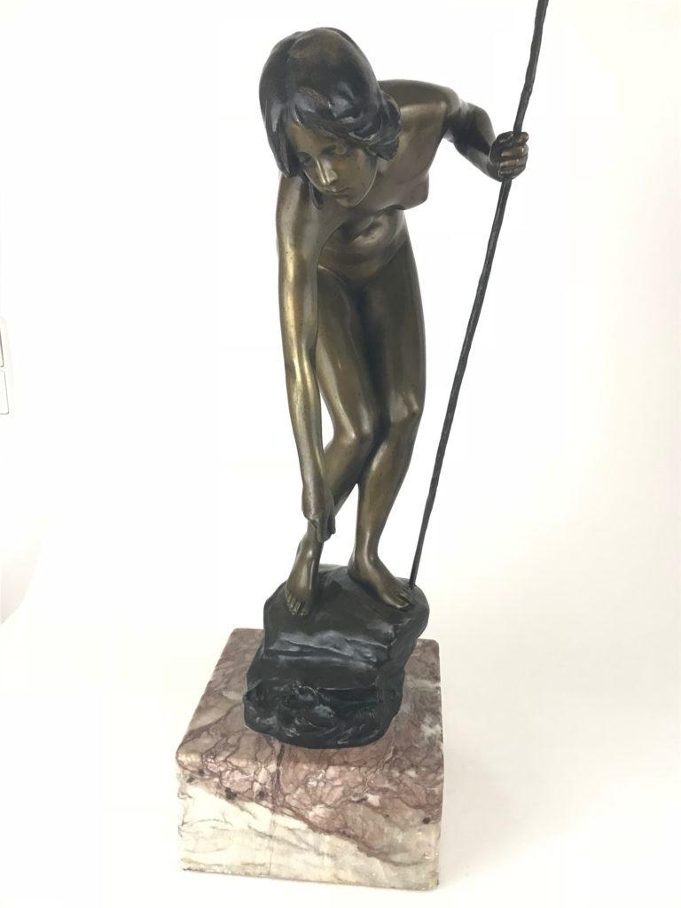 """Bronzefigur Prof. Victor Seifert, """"Die Anglerin"""""""