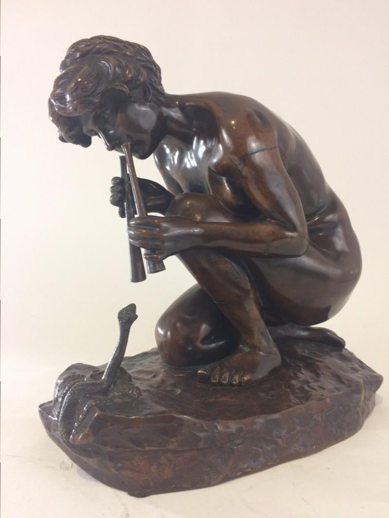 """Friedrich Gornik, Bronzefigur """"Schlangenbeschwörerin"""""""