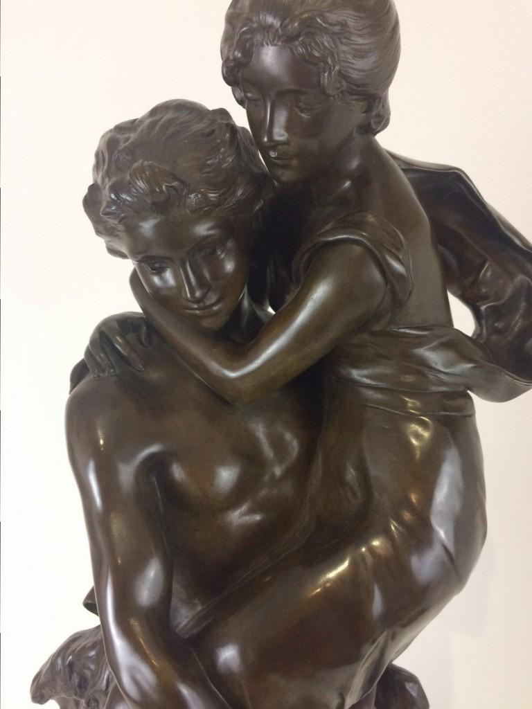 """Henri Louis Levasseur, """"Passage du gué"""" Bronzefigur"""