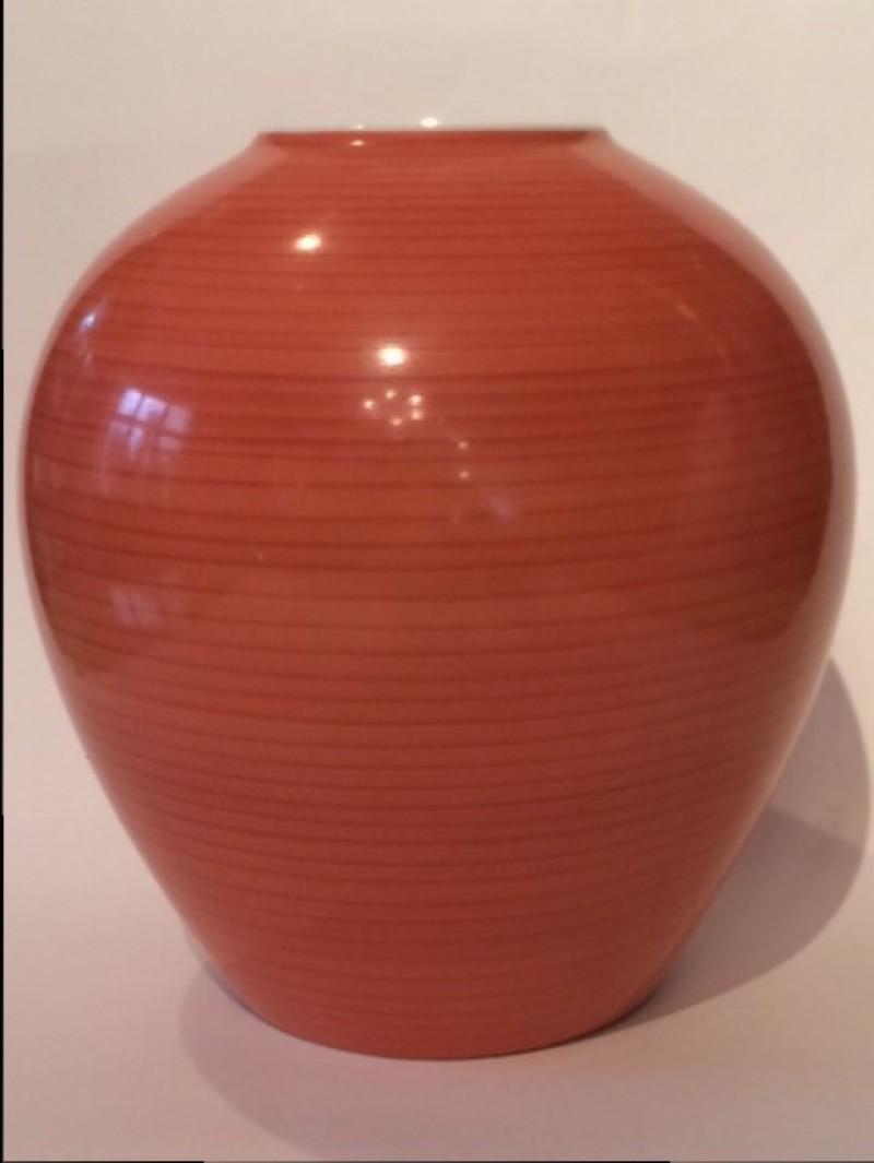 Kugelige Vase ,eisenroter Fond, KPM Berlin,Trude Petri, nach 1936