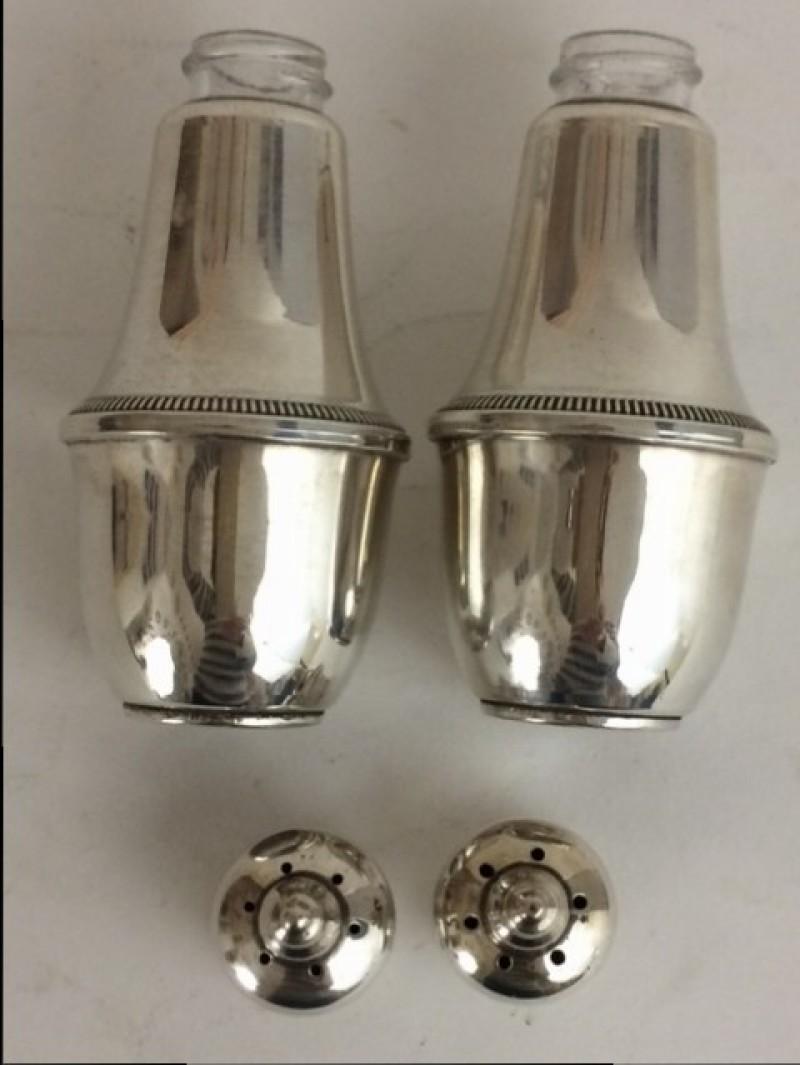 Sterling, Silber Salz&Pfeffer Streuer mit Glaseinsatz