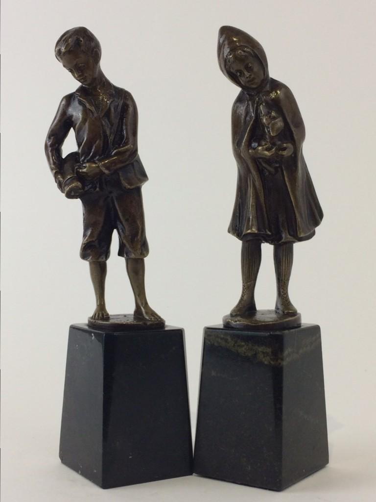 """o. hoffmann kleine bronzepaar Knabe"""" und """"Mädchen"""""""