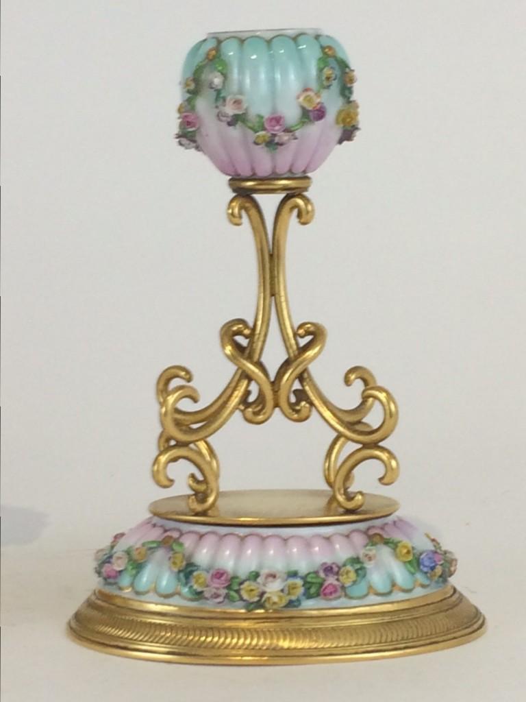 Ausgespochen selten, Meissen Leucher-Paar, feine Blumenbelag, um 1860