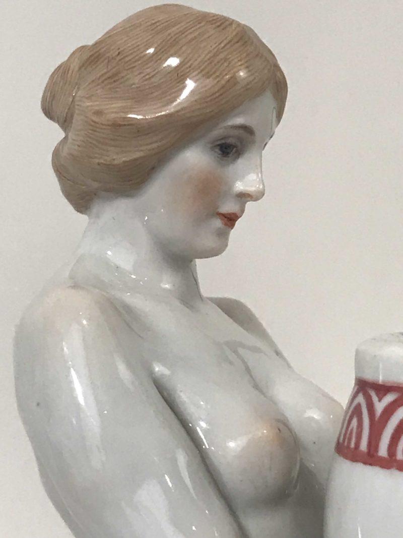 "Jugendstil Figur ""Herme, weiblich"", A. König, Meissen 1904-1924."