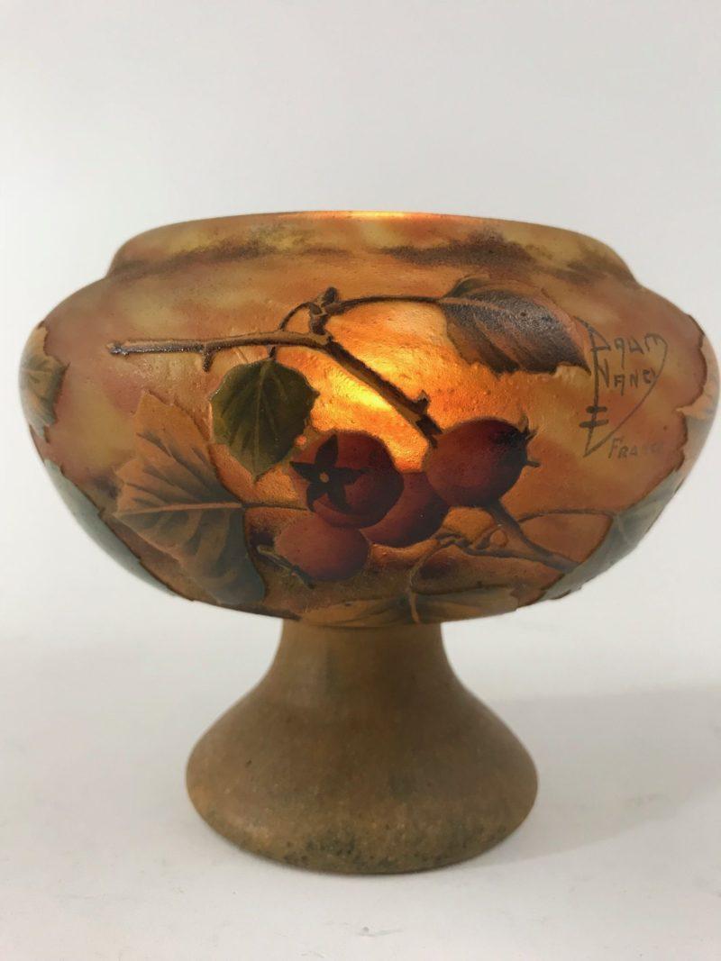 """Glassvase """"Hagebutte"""" Daum Nancy Frankreich"""