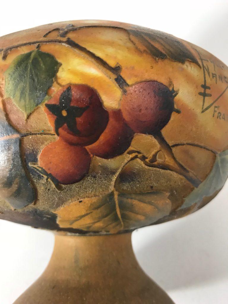 """Jugendstil Glass Vase, DAUM NANCY France""""Hagebutte"""""""