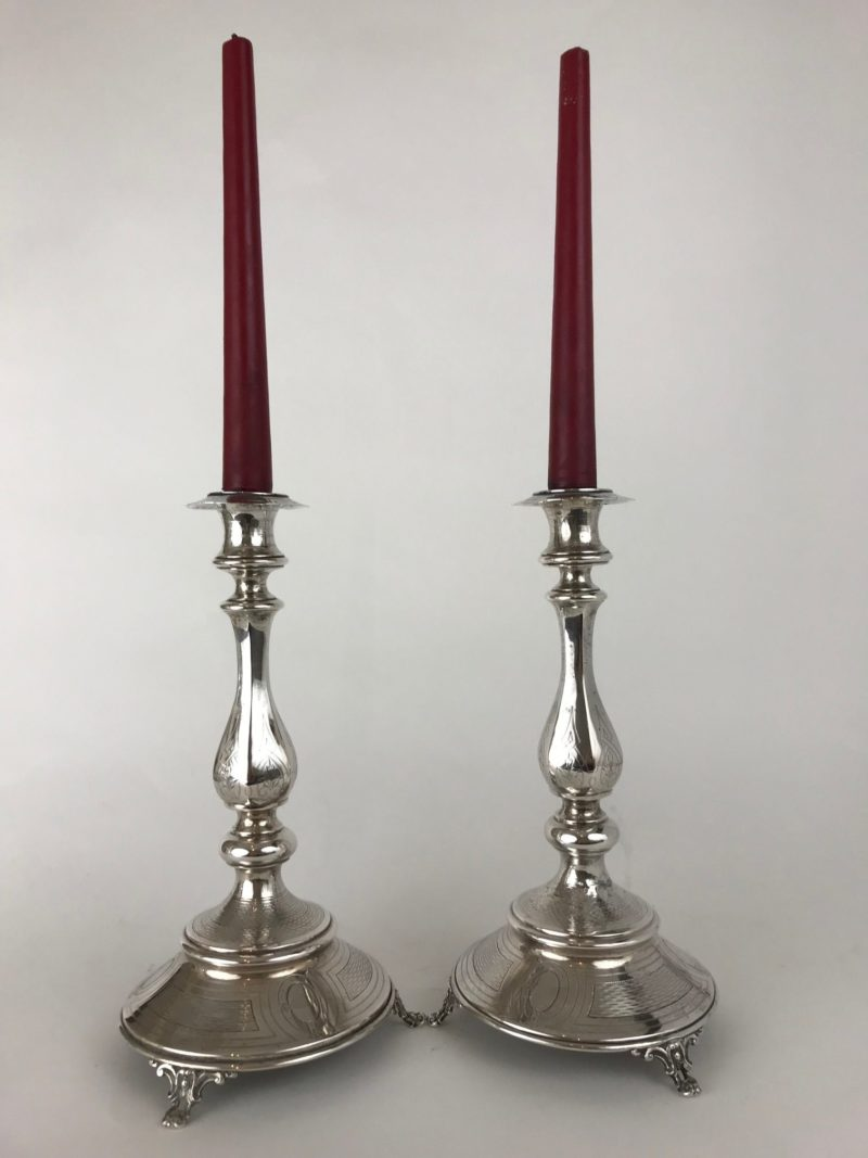 Elegantes Silberleuchter-Paar, Österreich um 1890