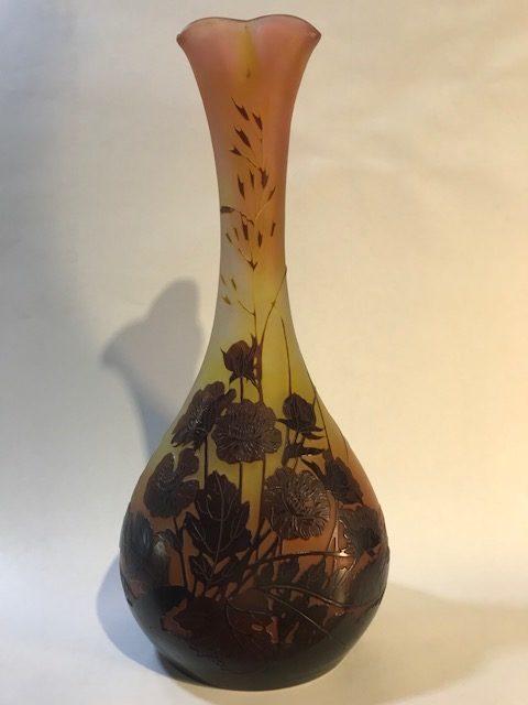 """Jugendstil Glas-Vase """"Rosen"""", E. Gallè, Frankreich um 1900"""