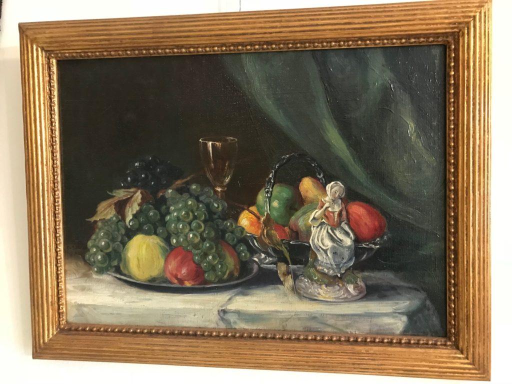 Carl Sollner, Früchte, Silber Schalen, Glas und Porzellanfigur